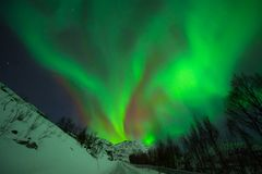 Awesome aurora borealis in Norway stock photography