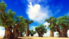 Awesome baobabs in African savannah 3d rendering Royalty Free Stock Images