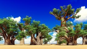 Awesome baobabs in African savannah 3d rendering Royalty Free Stock Photography