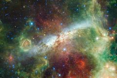 Awesome beautiful nebula somewhere in outer space royalty free stock photography