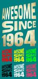 Awesome Since 1964. Birthday logos. 7 png files. Stock Photo