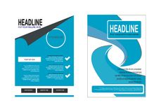 2 awesome blue design business flyer. 2 awesome business flyer template design vector Stock Illustration