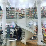 Awesome Bookstore with Spiral Staircase and Columns, Bucharest, Romania royalty free stock image