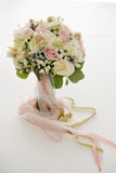 Awesome bridal bouquet of white and pink roses. And other flowers Stock Images