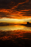 Awesome bright colorful sunrise over the sea. Borneo, Kalimantan Stock Photography