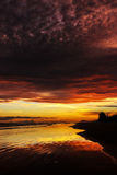 Awesome bright colorful sunrise over the sea. Borneo, Kalimantan Royalty Free Stock Photography