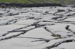 Awesome Burren rocks with large cracks all over. The landscape Royalty Free Stock Images