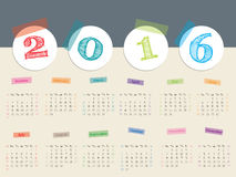 Awesome calendar with color tapes for 2016 Royalty Free Stock Photography