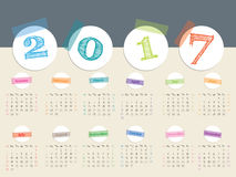 Awesome 2017 color tape calendar design. Awesome calendar design with color tapes and white disks for year 2017 Royalty Free Stock Photography