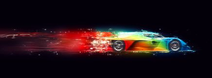 Awesome colorful super fast race car - cosmic trails effect. Isolated on black background Royalty Free Stock Images