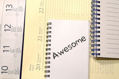 Awesome concept on notebook Royalty Free Stock Photos