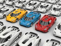 Awesome concept sports cars in primary colors stand out. Isolated on white background Royalty Free Stock Images