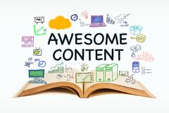 Awesome Content. Text with opened book and drawing icon on white background royalty free stock photography