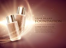 Awesome cosmetic foundation product ads 3d illustration concept Stock Photography