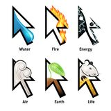 Awesome cursor set with elements of life. Awesome mouse cursor set with elements of life. Very nice illustration of water, fire, air, earth, energy and life Royalty Free Stock Photography
