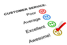 Awesome Customer Service  Rating. Customer Service Feedback Form Showing an Awesome Rating Royalty Free Stock Photography