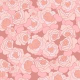 Awesome cute pink roses line art seamless pattern stock illustration