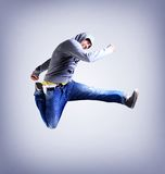 Awesome dancer is jumping Royalty Free Stock Photo