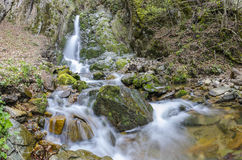 Awesome Descending waterfall, wide shoot Stock Image