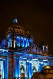 Merry Belfast City Hall. Awesome dome on Belfast City Hall and Christmas light. Unique seasonal time by night in Belfast Stock Image