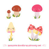 Awesome doodle mushrooms vector set Royalty Free Stock Photo