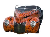 Awesome flamed hotrod on white. American convertible hotrod with awesome painted flames Royalty Free Stock Photography