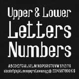 Awesome font of white lowercase and uppercase letters, numbers. Isolated english alphabet.  Stock Photo