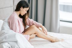 awesome girl with healthy scin. royalty free stock image