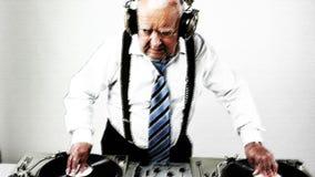Awesome grandpa DJ stock video