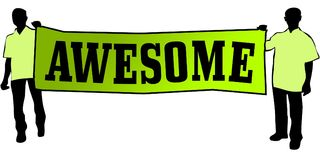 AWESOME on a green banner carried by two men. Illustration graphic Stock Images