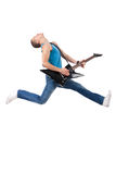 Awesome guitar player jumps Royalty Free Stock Image
