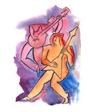 Awesome guitar players. Watercolor illustration of awesome guitar players Royalty Free Stock Images