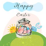 Awesome happy easter card in vector. Funny rabbits and spring flowers with hearts. Stylish holiday background in popular Royalty Free Stock Images