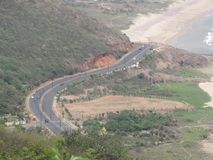 Awesome highway view With sea beach from hills. This snap is taken from RK Beach, Visakhapatnam. In this snap beach road from top of a hill known as kailashgiri Stock Images
