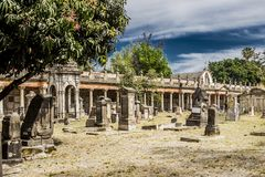 Awesome image of the cemetery of Belen in Mexico. Awesome image of the cemetery of Belen with a blue sky background in Guadalajara Jalisco Mexico, copy space stock photo