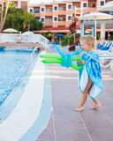 Awesome kid plays with balloons royalty free stock photography