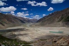 Awesome landscape from Zanskar. View from Pensi La pass in Zanskar royalty free stock photo