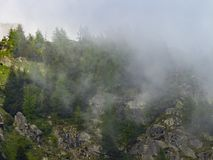 Misty mountains top stock photos