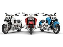 Awesome modern chopper bikes - red, white and blue. 3D Illustration Royalty Free Stock Photography