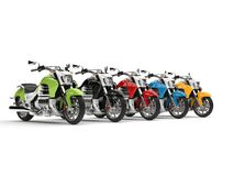 Awesome modern powerful chopper bikes in various colors. 3D Illustration Royalty Free Stock Images