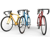 Awesome modern sports bicycles - primary colors Stock Images