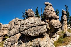 Awesome mountain landscape at Blackhills National Forest , South Dakota. Awesome mountain landscape with rocky pillars at Blackhills National Forest , South stock image