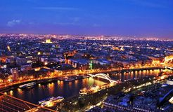 Awesome night Paris scene in HDR. Awesome night Paris panorama from the Eiffel tower, France, high dynamic range Stock Image