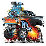 Classic hot rod fifties style gasser muscle car, flames, big engine, cartoon vector illustration. Awesome old school 1957 style hotrod, popping a wheelie, huge royalty free illustration