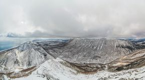 Awesome pano of mountains on Sakhalin island stock images