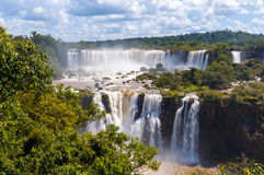 Awesome Panorama view of Iguassu Falls, waterfall in Brazil Stock Photography
