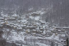 Small Town under snow royalty free stock images