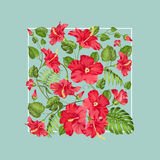 Awesome pattern of Tropical flowers. Stock Photo