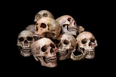 Awesome, pile of skull, on black background, Royalty Free Stock Photography