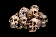 Awesome, pile of skull, on black background, Royalty Free Stock Photos